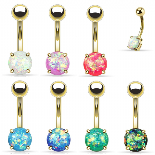 Gold Plated Belly Bar with Opal Glitter Ball